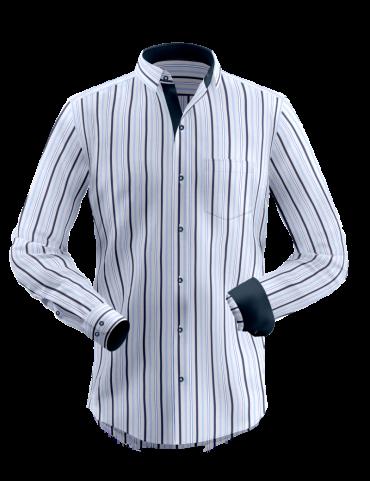 White Blue Shades Striped Shirt