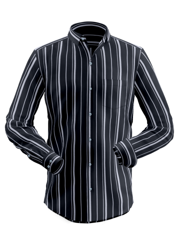 Grey Black Fancy Stripes Shirt
