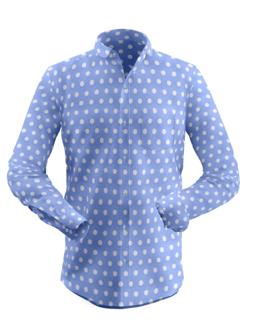 Blue Self Print Shirt