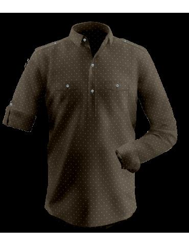 Brown Mustard Self Print Kurta Shirt