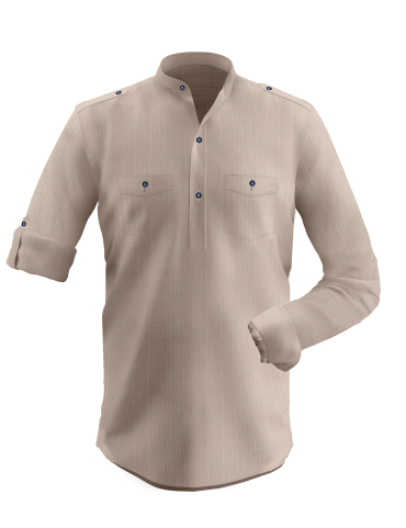 Bisque Brown Dobby Shirt Kurta