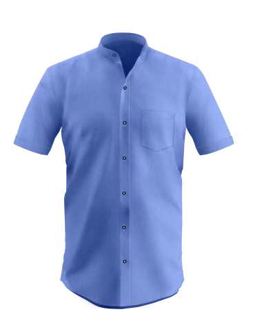 Royal Blue China Collar Shirt