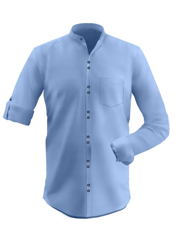 Light Steel Blue Double Button Placket Shirt