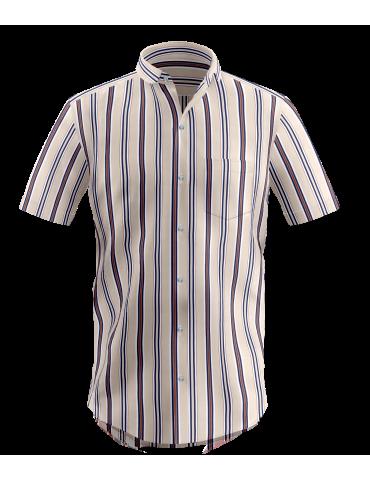 Cream Multi-Colored Striped Shirt