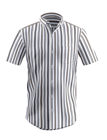 White Broad Multi-Colored Striped Shirt