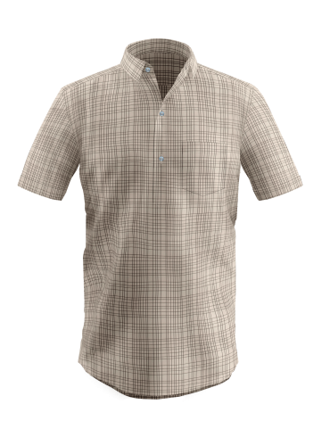 Cream Plaid Kurta Placket Checkered Shirt