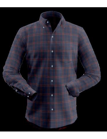 Dark Blue Fancy Window Pane Checkered Shirt