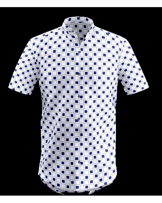White Blue Casual Checkered Shirt