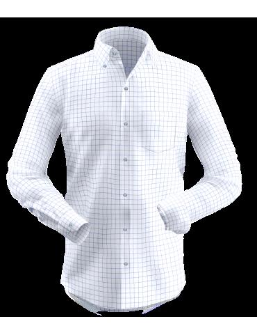 White Blue Formal Checkered Shirt