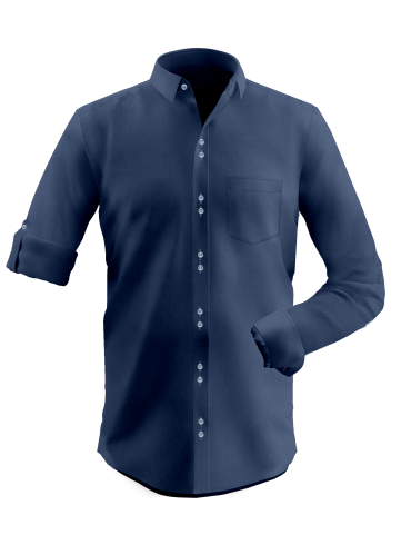 Navy Blue Dobby Double Button Shirt