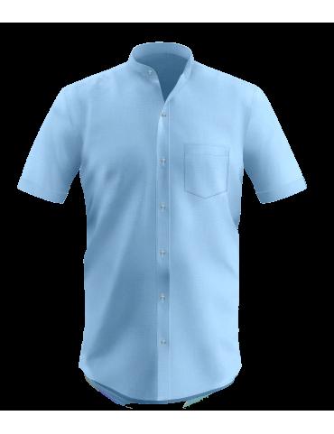 Light Cyan Half Sleeves Band Collar Shirt