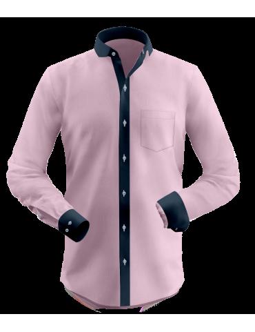 Deep Peach Dobby Full Contrast Shirt