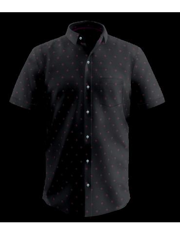 Black Square Print Half Sleeves Shirt