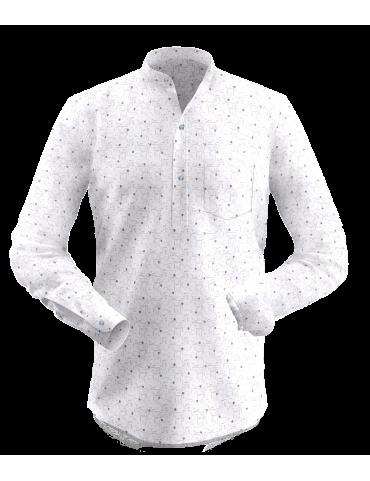 Cream Small Print Kurta Shirt